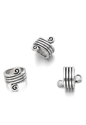 www.snowfall-beads.nl - Metalen schuifkralen met spiraal 16x14x11mm