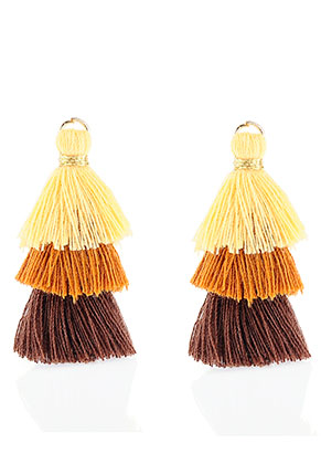 www.snowfall-beads.fr - Pendentifs en textile avec pompons 35x20mm