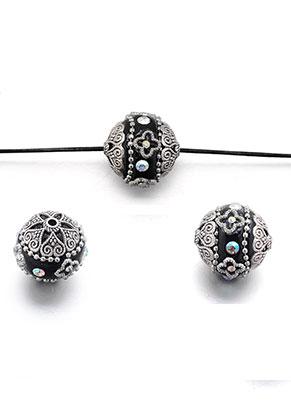 www.snowfall-beads.com - Polymer clay Kashmiri bead 20-21x18-19mm