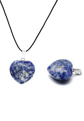 www.snowfall-beads.fr - Pendentif en pierre naturelle Sodalite coeur 40x30mm