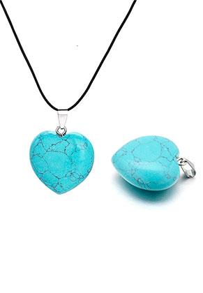 www.snowfall-beads.es - Colgante de piedra natural Turquoise Howlite corazón 40x30mm