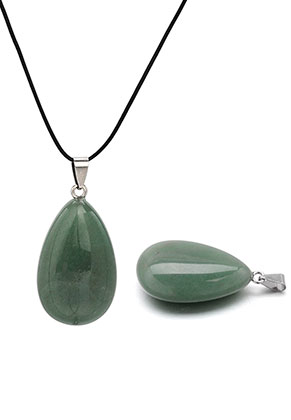 www.snowfall-beads.es - Colgante de piedra natural Green Aventurine gota 51x24mm
