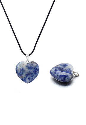 www.snowfall-beads.fr - Pendentif en pierre naturelle Sodalite coeur 30x25mm