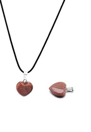 www.snowfall-beads.es - Colgante de piedra natural Brown Sandstone corazón 23x16mm
