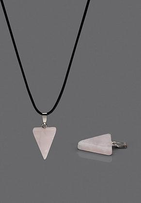 www.snowfall-beads.fr - Pendentif en pierre naturelle Rose Quartz triangle 29x15mm