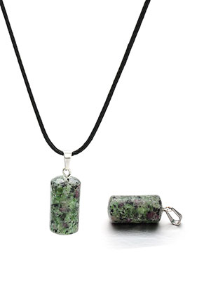 www.snowfall-beads.be - Natuursteen hanger Ruby Zoisite cilinder 30x10mm