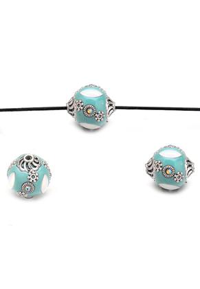 www.snowfall-beads.es - Abalorio Kashmiri de arcilla polimérica 17x16mm