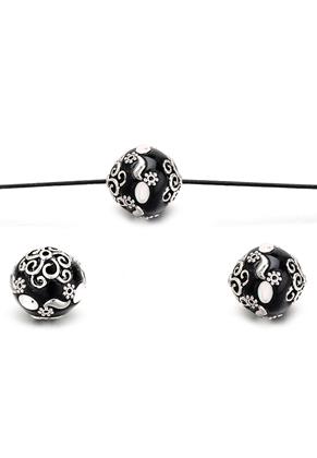 www.snowfall-beads.com - Polymer clay Kashmiri bead 21x20mm