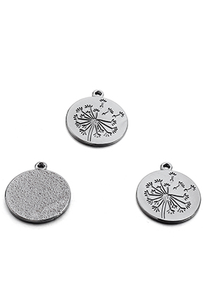 www.snowfall-beads.com - Metal pendants with dandelion 29,5x26mm
