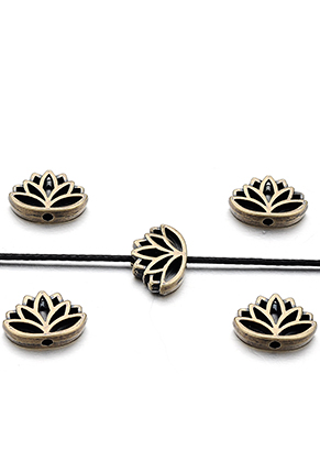 www.snowfall-beads.nl - Metalen kralen lotus 16x11x4mm