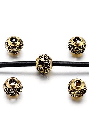 www.snowfall-beads.nl - Groot-gat-style metalen kralen met hartjes 12x10mm