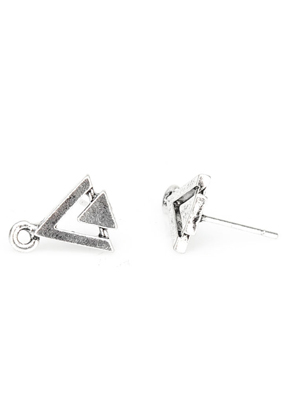 www.snowfall-beads.nl - Metalen oorstekers driehoek met oogje 13x13x10mm