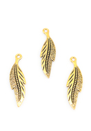 www.snowfall-beads.co.uk - Metal pendants feather 34x9mm - D29781