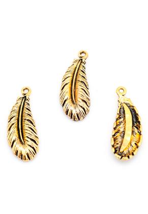www.snowfall-beads.com - Metal pendants feather 36x14mm