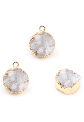 www.snowfall-beads.es - Colgante de piedra natural Crystal redondo 19x15mm