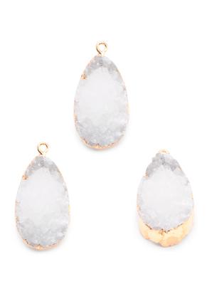 www.snowfall-perles.be - Pendentif en pierre naturelle Crystal ovale 30-35x18-23mm