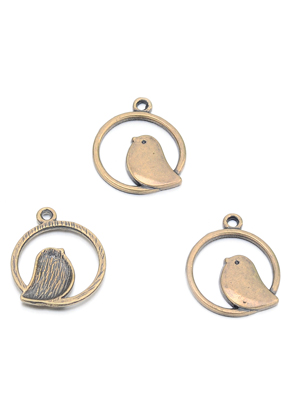 www.snowfall-beads.com - Metal pendants ring with bird 24x21mm
