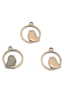 www.snowfall-beads.nl - Metalen hangers ring met vogel 24x21mm - D30040