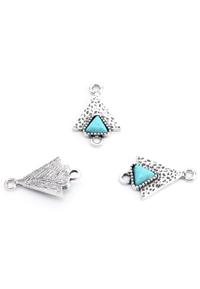 www.snowfall-beads.com - Metal connectors triangle with natural stone Turquoise Howlite 23x15mm