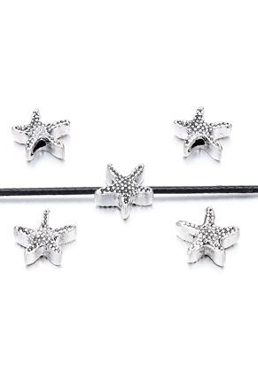 www.snowfall-beads.nl - Metalen kralen zeester 13x12mm
