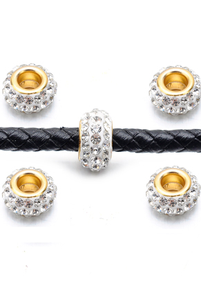 www.snowfall-beads.com - Large-hole-style strass spacer beads 12x7mm