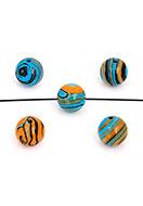 www.snowfall-beads.de - Naturstein Perlen Imitation Malachite rund 8x7,5mm - D30591