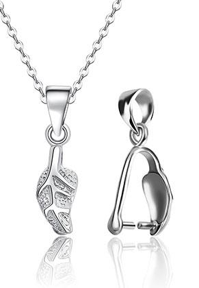 www.snowfall-beads.fr - Pince pour pendentif en 925 argent feuille 20x5mm