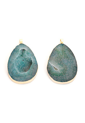 www.snowfall-beads.com - Natural stone pendant Agate drop 55-70x30-45mm