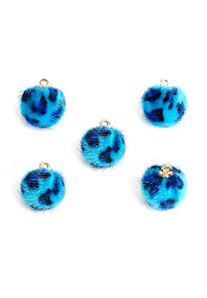 www.snowfall-beads.nl - Pluizenbollen met oogje en panterprint 18x15mm