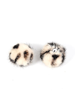 www.snowfall-beads.com - Fluff balls with elastic loop panther print 30mm