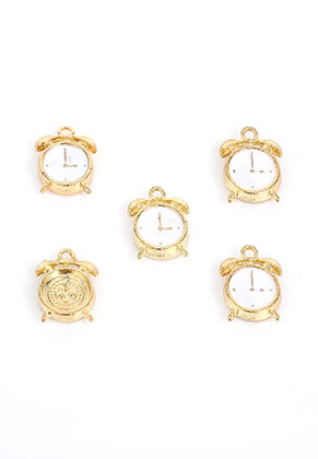 www.snowfall-beads.com - Metal pendants/charms with epoxy alarm clock 15,5x12mm