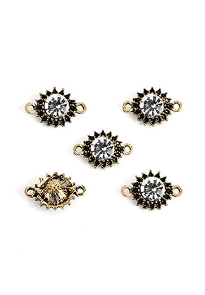 www.snowfall-beads.com - Metal connectors flower with strass 15,5x10,5mm