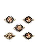 www.snowfall-beads.com - Metal connectors flower with strass 15,5x10,5mm - D30924