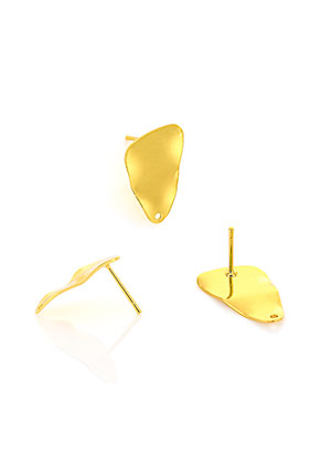 www.snowfall-beads.com - Metal ear studs triangle waving 21x13mm