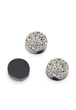 www.snowfall-beads.com - Synthetic and natural stone flat back Rock Crystal round druzy 10mm