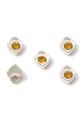 www.snowfall-beads.nl - Metalen hangers/bedels hartje met strass 7,5x6mm