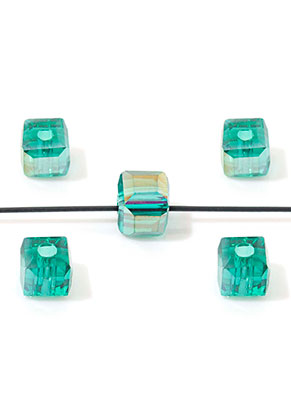 www.snowfall-beads.de - Glasperlen Kristall Würfel facette geschliffen 4,5mm