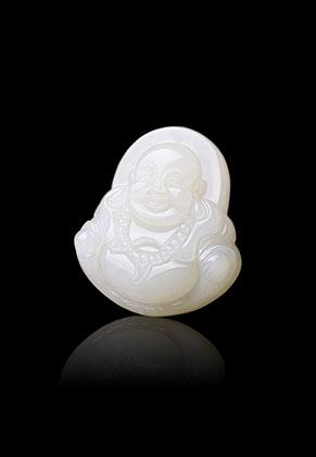 www.snowfall-beads.fr - Pendentif en pierre naturelle White Jade Bouddha 38x34mm