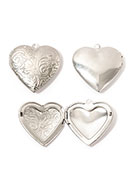 www.snowfall-beads.com - Stainless steel pendant locket heart DQ 29mm - D31214