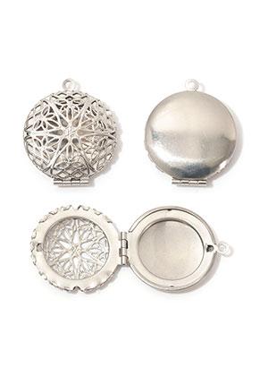 www.snowfall-beads.be - Roestvrijstalen hanger medaillon rond DQ 32x27mm