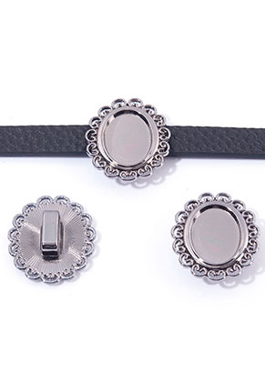 www.snowfall-beads.nl - Metalen schuifkralen ovaal 28x25mm met kastje voor 18x13mm plaksteen