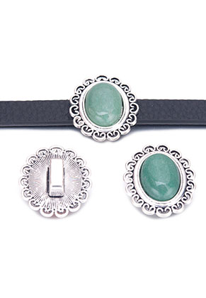 www.snowfall-beads.com - Metal slide-beads with natural stone Green Aventurine oval 28x25mm