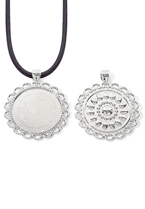 www.snowfall-beads.com - Metal pendant round 48x40mm with setting for 30mm flat back