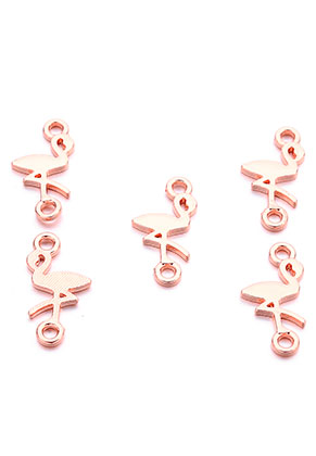 www.snowfall-beads.nl - Metalen hangers/tussenzetsels flamingo 21x11mm