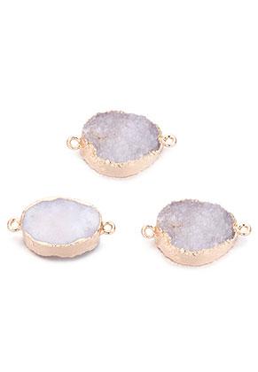 www.snowfall-beads.es - Colgante/conectores de piedra natural Crystal ovalado 30x18mm