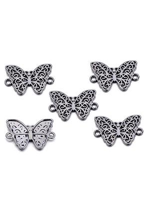 www.snowfall-beads.co.uk - Metal pendants/connectors butterfly 20x19mm