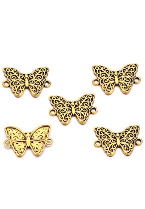 www.snowfall-beads.nl - Metalen hangers/tussenzetsels vlinder 20x19mm