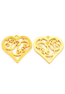 www.snowfall-beads.com - Metal pendants heart 37x36mm - D31857