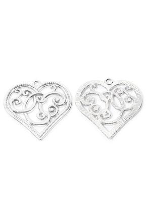 www.snowfall-beads.com - Metal pendants heart 37x36mm