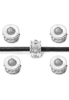 www.snowfall-beads.nl - Groot-gat-style metalen kralen rondel met strass 9x7mm